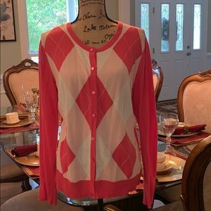 Pink and white argyle button down sweater